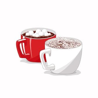 Tazza bianca e rossa su sfondo bianco isolato. cacao, caffè con marshmallow. natale. celebrazione.