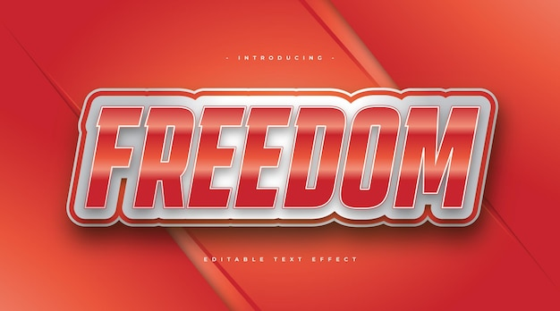 Stile di testo freedom bianco e rosso con effetto 3d