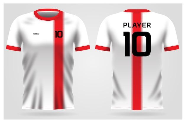 Uniforme della maglia da calcio a strisce bianche e rosse per la squadra di calcio, vista anteriore e posteriore della maglietta