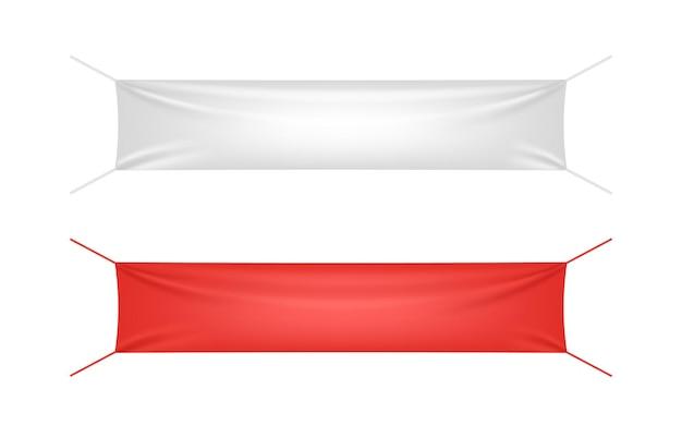 Banner in tessuto bianco e rosso con set di modelli di pieghe