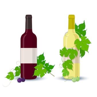 Bottiglie di vino bianche e rosse con foglie di uva su sfondo bianco