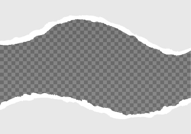 Strisce di carta strappate bianche realistiche carta strappata grigia su sfondo trasparente orizzontale senza cuciture