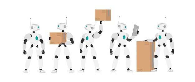 Un robot bianco tiene una scatola. set di robot futuristici. il concetto di consegna futura, intelligenza artificiale e tecnologia. isolato, vettore.
