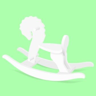 Giocattolo per bambini cavallo a dondolo bianco - illustrazione vettoriale.