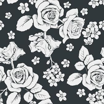 Rose bianche e fiori di miosotis su sfondo nero.