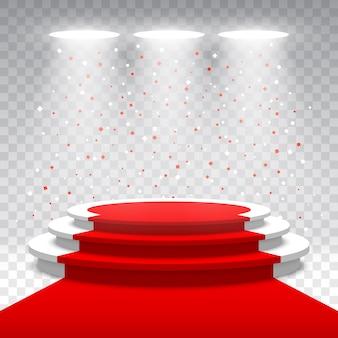 Podio bianco rotondo bianco con tappeto rosso e coriandoli. palco per la cerimonia di premiazione. piedistallo.