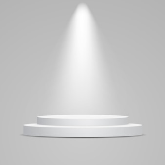 Podio rotondo bianco illuminato con luce. piedistallo per la presentazione del prodotto.