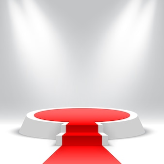 Podio rotondo bianco con tappeto rosso e scale piedistallo vuoto con gradini e faretti