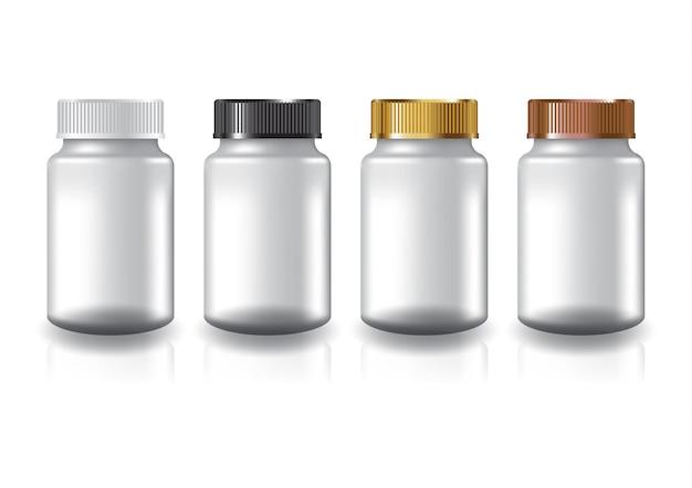 Supplementi rotondi bianchi, coperchio della scanalatura di 4 colori della bottiglia della medicina per la bellezza o il prodotto sano.