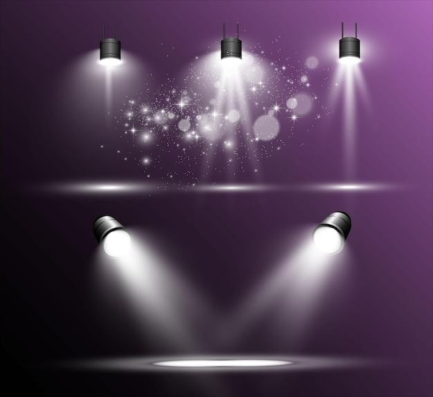 Scena bianca su uno sfondo trasparente con faretti illustrazione vettoriale misura dell'azione