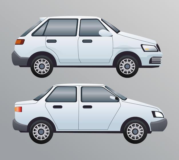 Scena di branding di veicoli berlina bianca