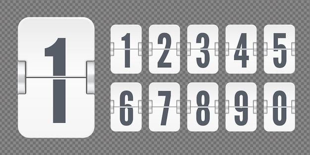 Set bianco di numeri di vibrazione su un tabellone segnapunti meccanico isolato su sfondo trasparente scuro. modello vettoriale per il tuo design.
