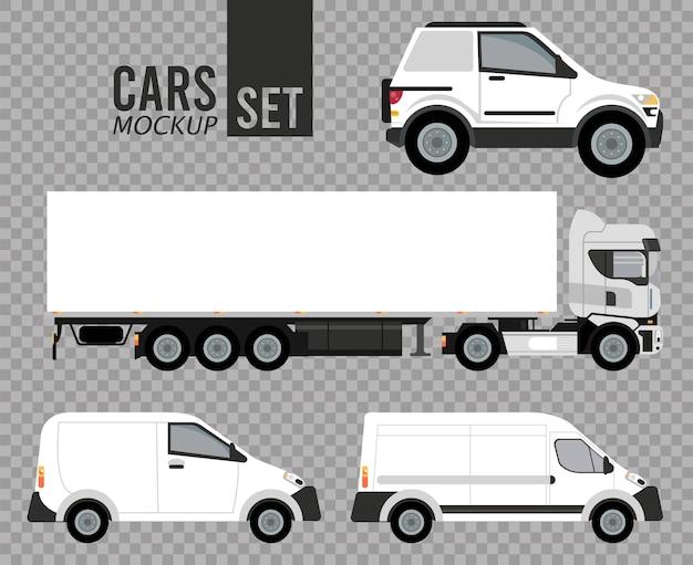Veicoli di automobili mockup set bianco