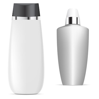 Flacone di shampoo bianco pacchetto di siero cosmetico
