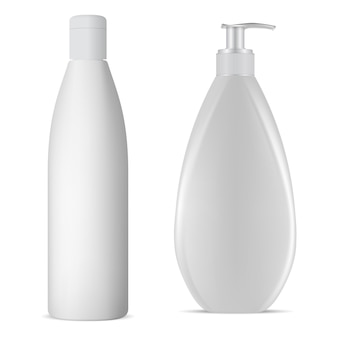 Flacone di shampoo bianco