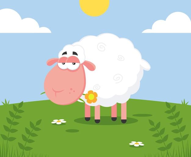 Personaggio dei cartoni animati di pecore bianche con un fiore. illustrazione design piatto con sfondo