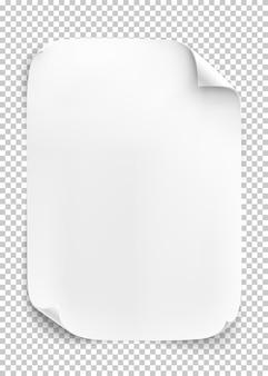 Foglio di carta bianco su sfondo trasparente.