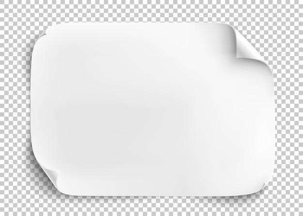 Foglio di carta bianco su sfondo trasparente