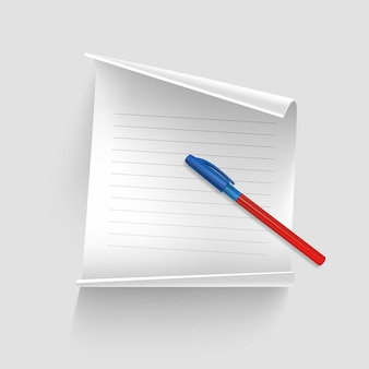 Foglio di carta bianco con penna realistica, foglio di carta per i tuoi record,