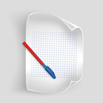 Foglio di carta bianco con penna realistica, foglio di carta per i tuoi record, Vettore Premium