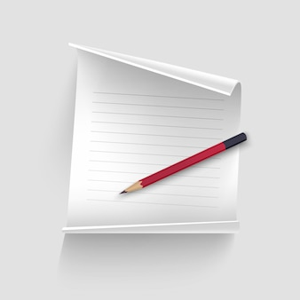 Foglio di carta bianco con una matita realistica, foglio di carta per i tuoi dischi, Vettore Premium