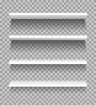 Scaffali bianchi scaffalature vuote del prodotto dell'esposizione della vetrina per il modello del negozio del supermercato di mostra