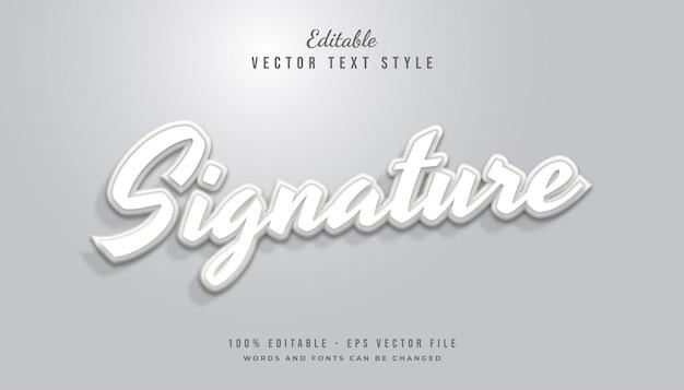 Stile di testo firma bianco con effetto in rilievo