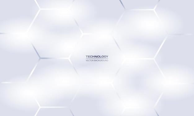Fondo geometrico astratto di tecnologia esagonale d'argento bianco