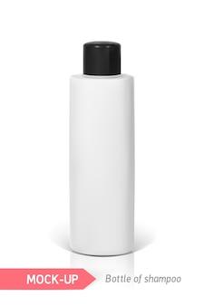 Bottiglietta bianca di shampoo. mocap per la presentazione