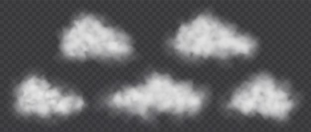 Nuvole di fumo bianche messe isolate su fondo trasparente. concetto di inquinamento dell'aria. tempo nuvoloso.