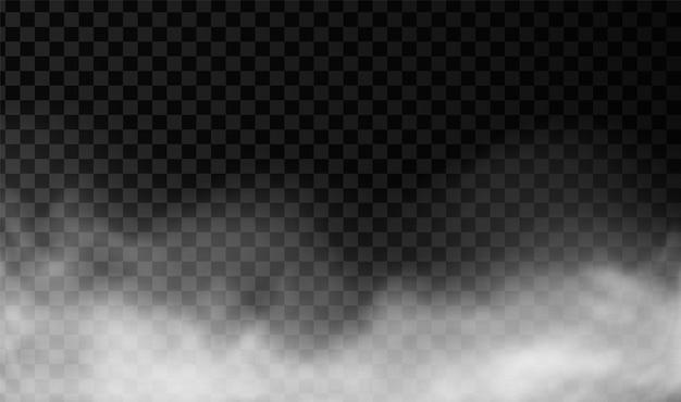 Fumo bianco o sfondo vettoriale nebbia effetto trasparente nebbia isolato