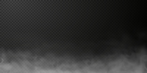 Sbuffo di fumo bianco isolato su sfondo nero trasparente png effetto speciale esplosione di vapore