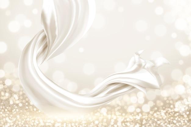 Elementi in raso bianco liscio su sfondo scintillante