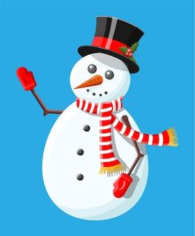 Pupazzo di neve bianco con cappello a cilindro e agrifoglio, sciarpa e guanti. felice anno nuovo decorazione. buon natale vacanza. celebrazione del nuovo anno e del natale.