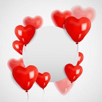 Carta bianca del bordo del cerchio dello spazio con l'aerostato del cuore 3d, giorno del biglietto di s. valentino. illustratore vettoriale