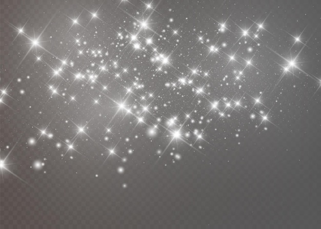 Scintille bianche e stelle dorate brillano con un effetto luce speciale