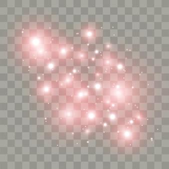 Scintille bianche stelle glitter effetto luce speciale. brilla su sfondo trasparente. particelle di polvere magica scintillante