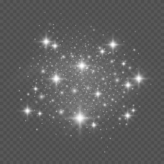 Scintille bianche e stelle brillano con un effetto di luce speciale.