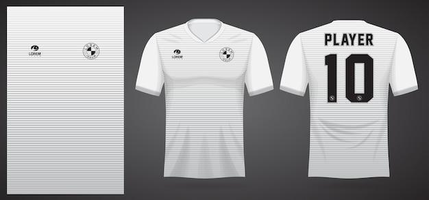 Modello di maglia sportiva bianca per uniformi della squadra e design della maglietta da calcio Vettore Premium