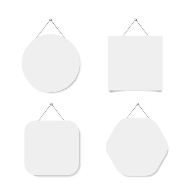 Etichetta bianca quadrata, circolare, esagonale utilizzata per appendere. illustrazione vettoriale