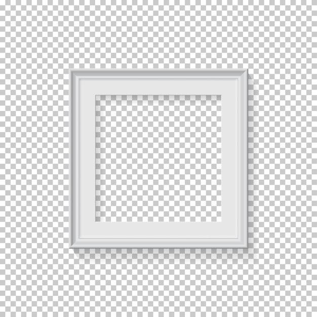 Cornice quadrata bianca per foto su sfondo trasparente spazio vuoto per cartolina o foto