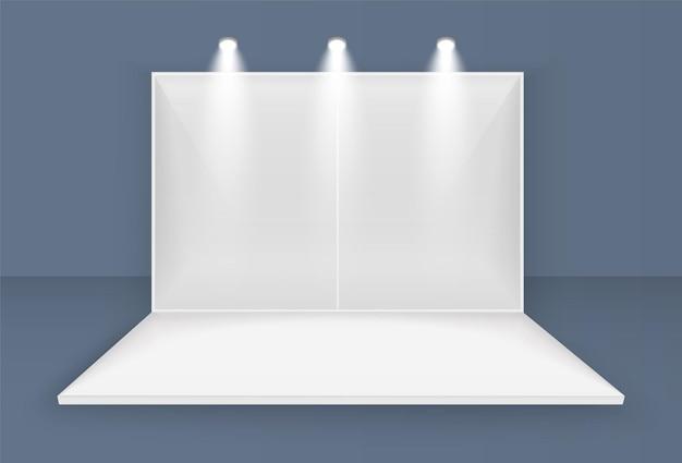 Palco bianco, scena del concerto sul podio, spettacolo di spettacoli di spettacolo, con schermo a led, faretti quadrato geometrico vuoto, illustrazione di visualizzazione della sala eventi di presentazione