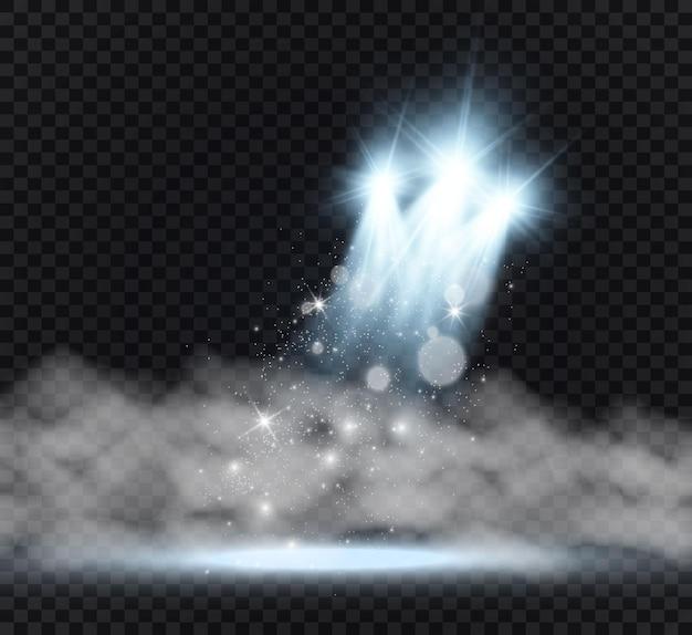 Palcoscenico bianco con illustrazione di faretti