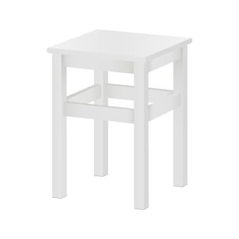 Modello bianco delle feci isolato - vista laterale. tabouret quadrato in legno su quattro gambe.