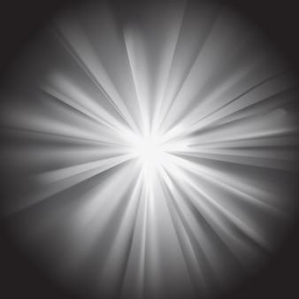 Raggi di sole bianchi con bagliore su sfondo scuro. effetto abbagliante con trasparenza. illustrazione vettoriale