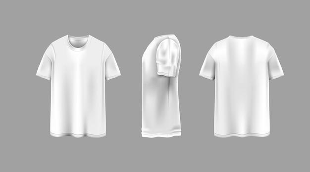 T-shirt bianca con modello di viste da diverse angolazioni