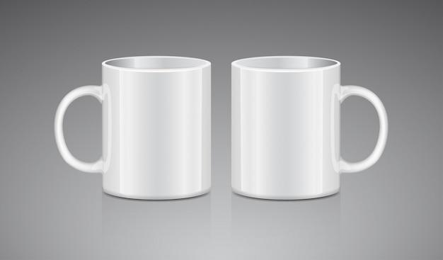 Tazza da tè bianco. vista laterale. modello realistico di tazza di vettore realistico