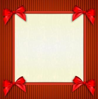 Posto di testo bianco con nastri rossi e fiocco
