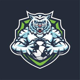 Mascotte del logo esport white tiger per il basket