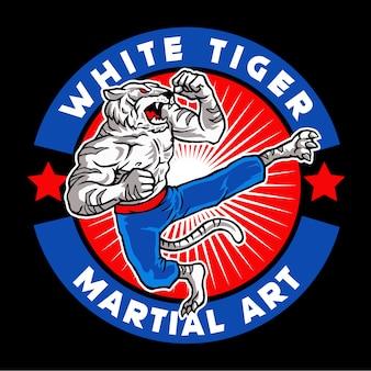 Logo della mascotte di arte marziale tigre bianca